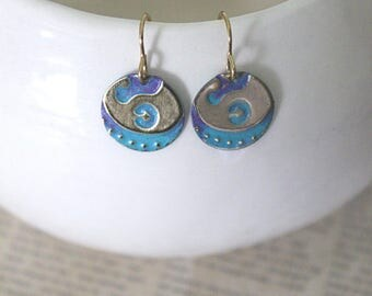 Small Petite Earrings, Vintaj Earrings, Turquoise Purple Jewelry, Boho Jewelry, Dainty Jewelry, Patina Jewelry, Brass Jewelry, Lily Damask