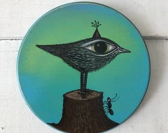 big eyed bird on a stump with an ant original painting