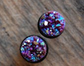 Rainbow Plum Faux Sparkle Druzy Rough Crystal Plugs Gauges for stretched earlobes. Choose Size 4g (5mm) 2g (6mm), 0g (8mm) Fake Gemstones