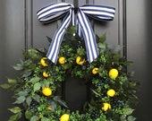 Taste of Summer, Lemons Wreath, Yellow Lemons Wreath, Citrus Wreaths, Blueberries and Lemons, Spring Door Wreaths, Front Porch Wreaths
