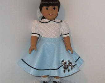 "Blue Poodle Skirt and White Blouse, Fits 18"" Dolls // AG Doll Clothes, AG Circle Skirt, American Girl 1950s Dress, Doll Retro Skirt, Felt"
