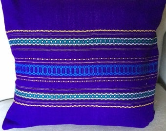 Handwoven Purple Striped Throw Pillow, Square Shape