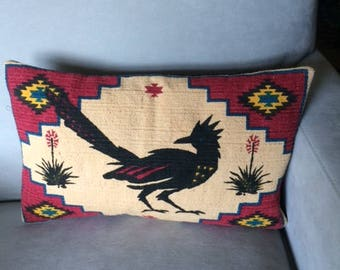 Roadrunner Pillow Upcycled from New Mexico Purse