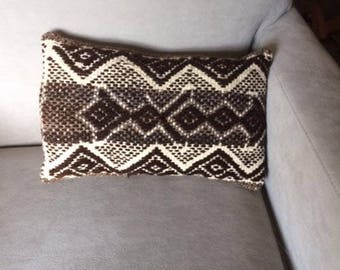 Brown and White Southwestern Design Pillow, Handwoven