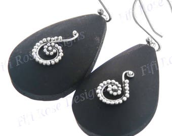 "1 1/4"" Teardrop Exotic Volcanic Lava Stone 925 Sterling Silver Earrings"