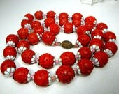 Carved RED Cinnabar Necklace, Hand Knotted 14mm Chinese Cinnebar Beads w White Enamel Flowered Bead Caps, 1980s Asian Jewelry, 28 Inches