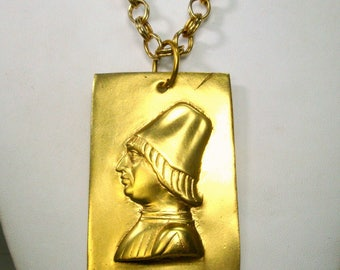 Alva Museum Male Cameo Pendant, Renaissance Man Medallion on Chain, 1970s Reproduction, Large mans Medieval Amulet on Thick LONG Chain