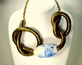 Long Tribal Brass SNAKE Necklace, 1980s Funky Patina Darkened,with Giant Add On Blue and White Porcelain Bead, Wear It With or Without Bead