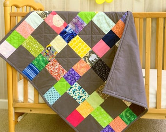 Baby Quilt Boy - Handmade Baby Gift - Baby Girl Quilt - Patchwork Baby Quilt - Personalized Baby Quilt - Neutral Baby Bedding - Embroidery