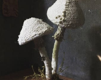 we are all connected - hand stitched mushrooms - antique textiles