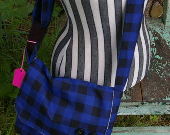 Chrissy's Messenger  Bag -  Royal Blue Check