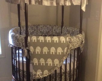 Round Crib Bedding Gender Neutral Gray Silver Satin Damask and Elephants