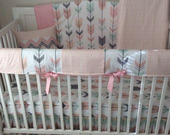 Blush Pink Gray Peach and Mint Arrows Baby Girl Crib Bedding Bumperless Set Made to Order