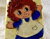 Raggedy Ann & Andy Vintage Decoupage Handcrafted Block/Bookend,Unique OOAK VG Adorable!