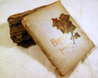 Antique Book-Flowers from Tennyson, Full-color Lithographs, Chas. Graham Pub. 1900, Padded Leather, Christmas Poetry