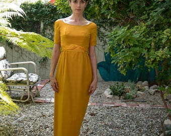 Long yellow gold vintage Emma Domb 1950 evening gown dress