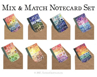 Mix & Match Postage Stamp Notecard Set - Boxed Stamp Art Print Cards