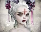Vampire Portrait - Gothic Art Print - Vampire Art - Goth Girl Art - Gothic Wall Art - Guilty Conscience