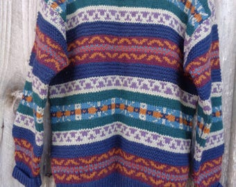 Pure wool sweater. Hand knitted sweater. Multicolor  sweater. Geometric pattern wool sweater. Christmas sweater.
