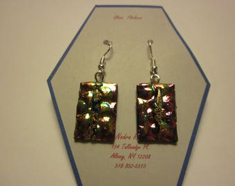 Fused glass earrings-copper/purple textured dichroic with gold blue dichroic stripe