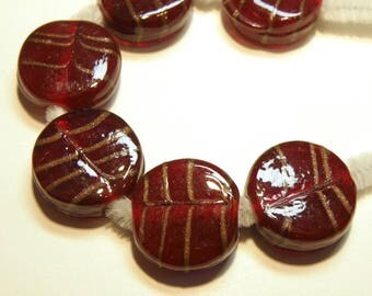 Six (6) Deep Cherry Red Coin Glass Beads with Goldstone Stripes --- Vintage -- NOS -- Lot 3O
