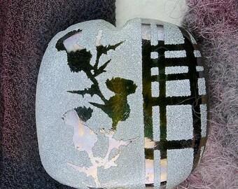 "Festival Sale 50% Off Lampwork Glass Beads SRA ""Tartan Thistles"" Handmade Sandblasted Iridescent Glass Square Focal Bead"