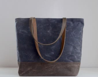 Charcoal Grey Waxed Canvas Tote Bag with Leather Straps - Ready to Ship