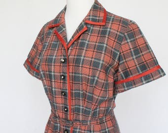 50's  Belted Shirtwaist Dress / Rhinestone Button Front / Black & Orange Plaid / Annetta / Medium to Large