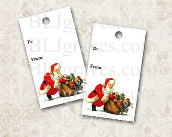 Christmas Tags Vintage Style Santa Gift Tag Party Favor Treat Bag Tag Handmade TC010