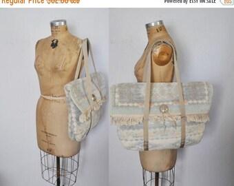 SALE Carpet Market Tote Bag / pastel tapestry Travel Carry On / Aztec Rug Weekender