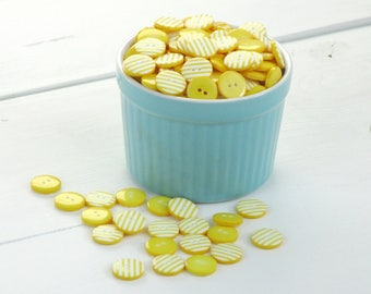 Yellow and White Stripe Buttons / Stripy Buttons / Striped Sewing Buttons / Kids Craft Supplies / Scrapbook Buttons / Sewing Supplies