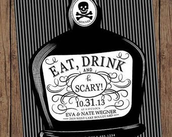 SALE Eat, Drink and be Scary Adult Halloween Invitation  - 1.00 each with envelope
