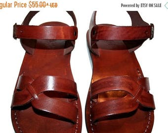 15% OFF Brown Circle Leather Sandals For Men & Women - Handmade Sandals, Leather Flats, Leather Flip Flops, Unisex Sandals, Brown Leather Sa