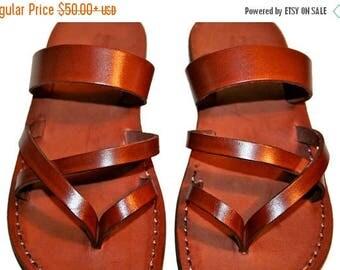 15% OFF Brown Moon Leather Sandals For Men & Women - Handmade Unisex Sandals, Flip Flop Sandals, Jesus Sandals, Genuine Leather Sandals