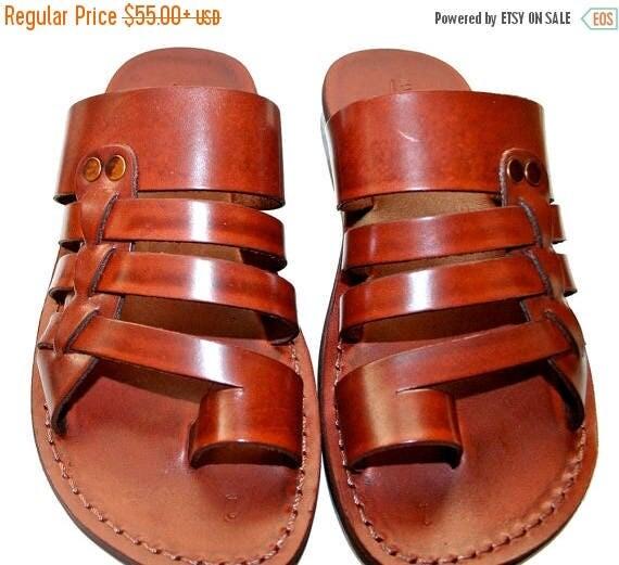 15% OFF Brown Skate Leather Sandals For Men & Women - Handmade Unisex Sandals, Flip Flop Sandals, Jesus Sandals, Brown Leather Sandals