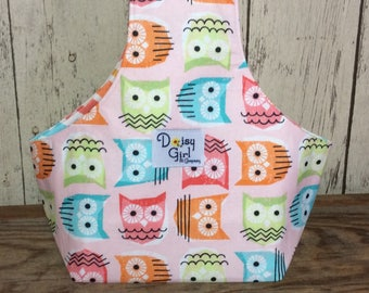 Knitting on the Go Wristlet, knitting bag, yarn holder owls