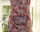 SALE Cottage Roses - Burgundy Edged, Blue Fabric with Rose Print Apron.  Womens Full Apron