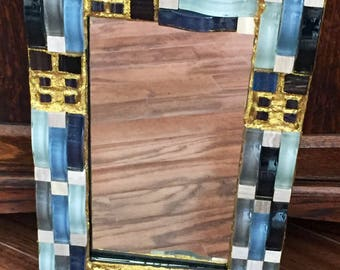 Gold Waves Mosaic Mirror