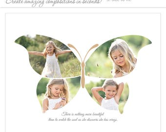 Photoshop Templates | Photography Posters | Easy Effects | BUTTERFLY - (2) Horizontal Layouts - 8x10 & 16x20 .PSD Files.