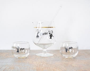 you me ours cocktail set, vintage roly poly glasses, mid century barware, brandy snifter pitcher