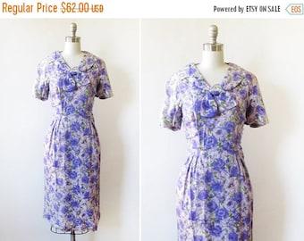 20% OFF SALE 50s floral dress, vintage 1950s purple floral cocktail dress, silk floral garden party dress, medium m