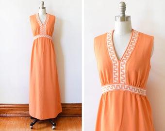 70s orange maxi dress, vintage 1970s grecian maxi dress, Greek key disco dress, medium m