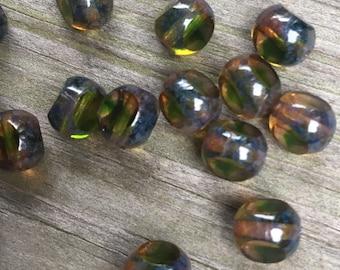 20 Czech glass trisided Picasso window pane beads