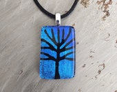 Tree of Life Etching on Royal Blue Dichroic Glass