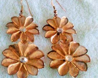 SALE Vintage Flower Mesh Earrings, For Pierced Ears, stil pretty to wear the way they are