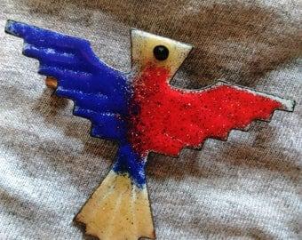 Vintage Native Hawk Brooch Indian American Enameled Eagle Pin