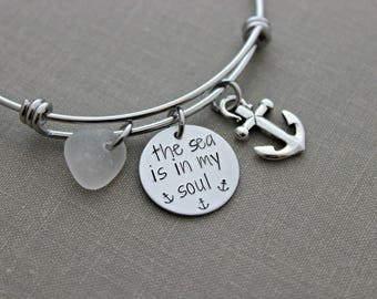 the sea is in my soul, stainless steel adjustable bangle bracelet, pewter silver anchor charm, genuine sea glass  in choice of color - beach