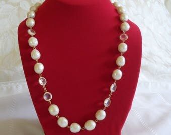 Signed Givenchy Paris New York Baroque Pearl Gold Tone And Clear Crystal Necklace
