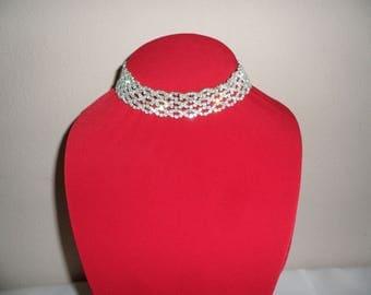 Vintage Clear Rhinestones Silver Tone Choker Necklace