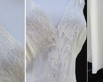 1940s Vintage 40s Leona Ivory Off White Lace Overlay Nightgown Night Gown 40 Large